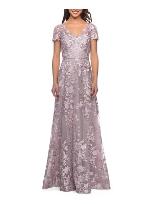 La Femme embroidered lace gown