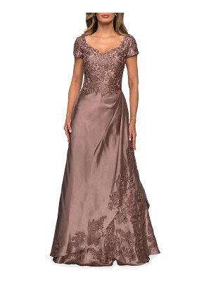 La Femme Embroidered Lace Mikado Gown