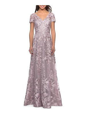 La Femme Embroidered Lace V-Neck Cap-Sleeve A-Line Gown