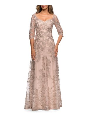 La Femme floral embroidered mesh a-line gown