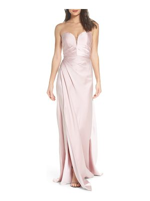 LA FEMME Gathered Strapless Satin Gown