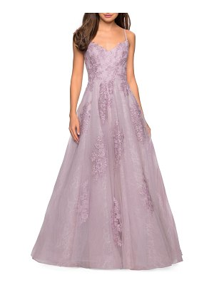 La Femme lace a-line evening dress