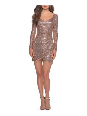 La Femme long sleeve sequin cocktail dress