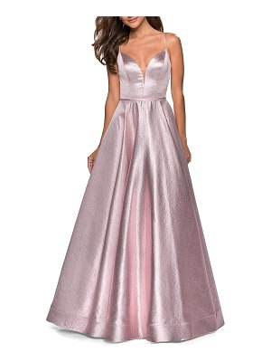 La Femme Metallic Plunge-Neck Sleeveless Ball Gown with Pockets