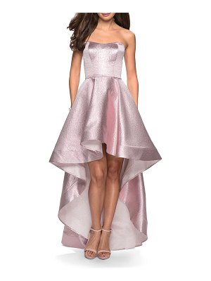 La Femme Metallic Strapless Sweetheart High-Low Gown with Pockets