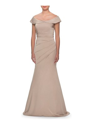 La Femme off the shoulder pleated satin mermaid gown