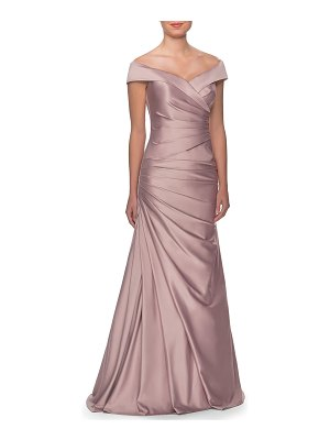 La Femme Off-the-Shoulder Ruched Satin Gown