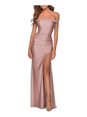 La Femme off the shoulder satin trumpet gown