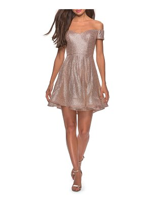 La Femme off the shoulder sequin cocktail dress