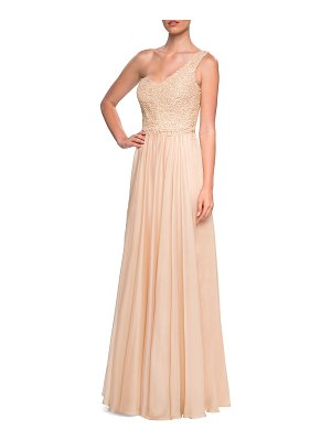 La Femme One-shoulder Embellished Lace Bodice Chiffon Gown