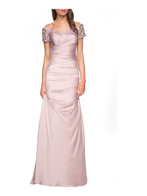 La Femme Ruched & Beaded Short-Sleeve Gown