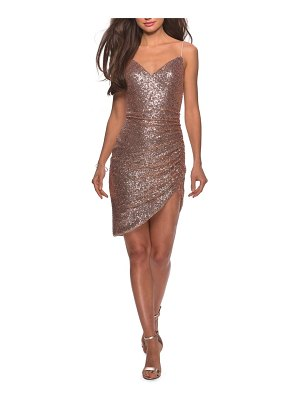 La Femme sequin side rucked party sheath