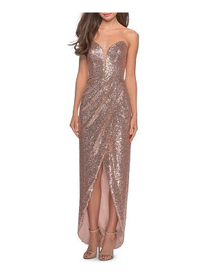 La Femme sequin strapless ruched gown
