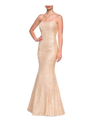 La Femme Sequins & Lace Strapless Mermaid Gown