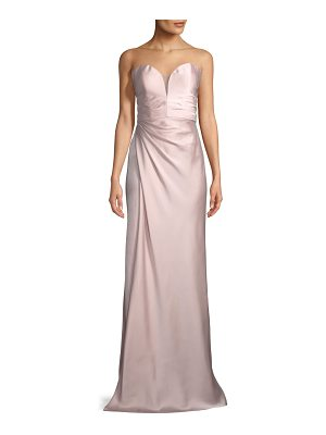 La Femme Strapless Gathered Satin Column Gown