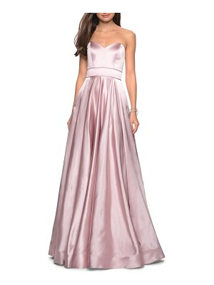 La Femme strapless satin evening dress