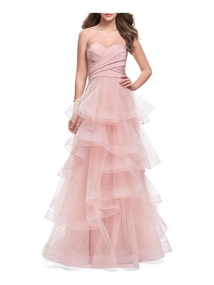 La Femme Strapless Sweetheart Draped Bustier Tulle A-Line Gown