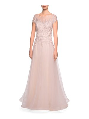 La Femme tulle a-line evening dress