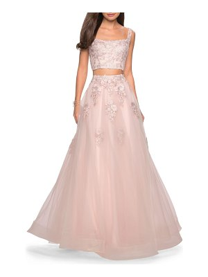 La Femme two-piece tulle & lace evening dress