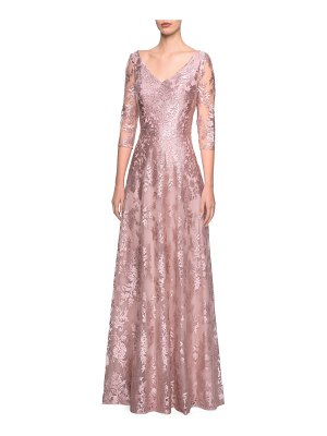 La Femme v-neck metallic embroidered evening dress