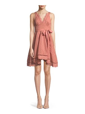 LA MAISON TALULAH Rapture Sleeveless V-Neck Fit-And-Flare Eyelet Lace Dress