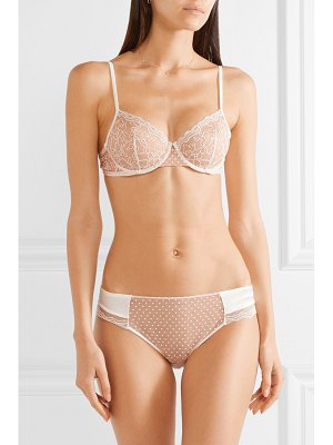 La Perla marble mood satin-trimmed embroidered printed stretch-tulle briefs