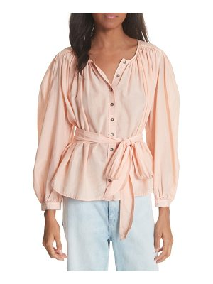 La Vie by Rebecca Taylor belted cotton & silk top