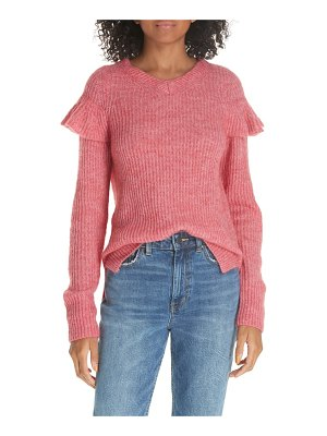 La Vie by Rebecca Taylor frill detail ribbed wool blend sweater