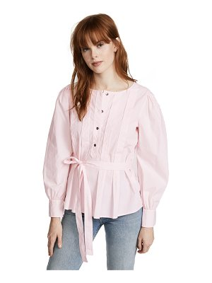LA VIE BY REBECCA TAYLOR Long Sleeve Belted Pop Top