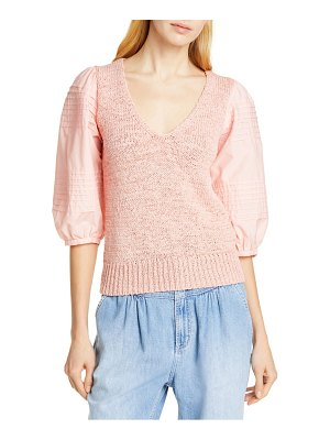 La Vie by Rebecca Taylor mix media cotton sleeve sweater