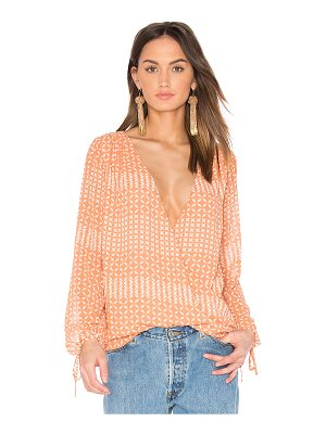L'Academie The Long Sleeve Wrap Blouse