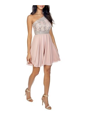 LACE & BEADS Althea Embellished One-Shoulder Dress