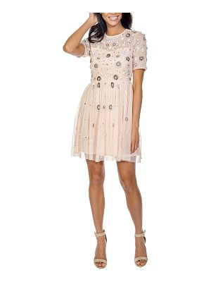 LACE & BEADS baby sequin minidress