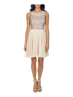 LACE & BEADS corals sequin back cutout dress