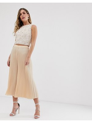 LACE & BEADS culottes in beige