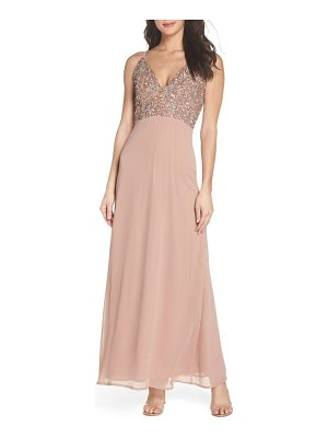 LACE & BEADS embellished chiffon gown