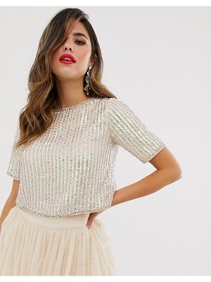 LACE & BEADS embellished crop top with cap sleeve in pink