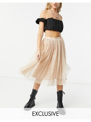 LACE & BEADS exclusive tulle coordinating midi skirt in rose gold metallic hearts