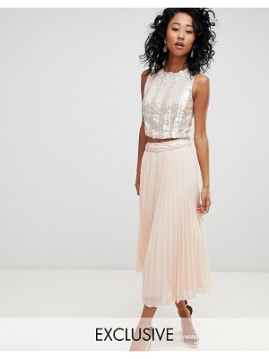 LACE & BEADS pleated midi skirt with embellished waistband in pink
