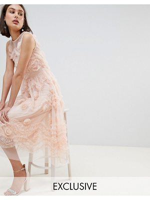 LACE & BEADS lace & beads tulle midi dress with 3d shirring detail