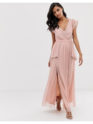 LACE & BEADS maxi dress in taupe-pink