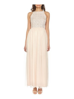 LACE & BEADS picasso embellished bodice evening dress