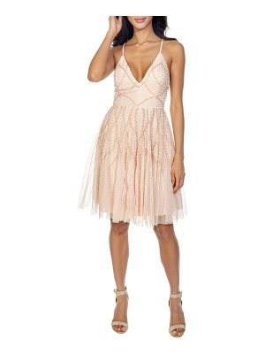 LACE & BEADS plunging sequin fit & flare dress
