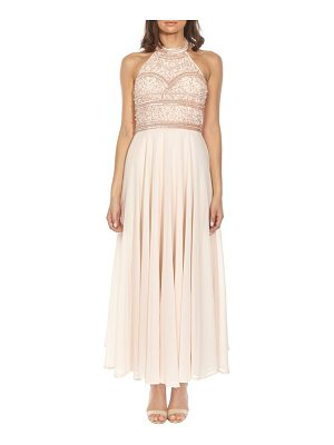 LACE & BEADS Sunrise Embellished Halter Maxi Dress