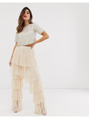 LACE & BEADS tiered tulle palazzo pants in pale pink