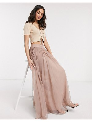 LACE & BEADS tulle maxi skirt in mink-pink