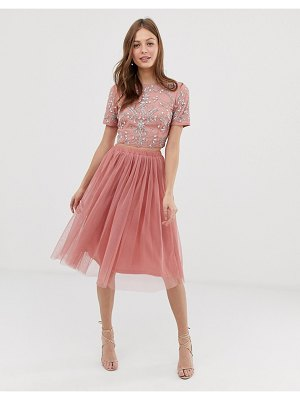 LACE & BEADS tulle skirt two-piece in terracotta