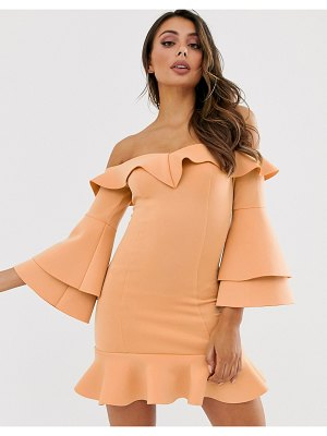 Laced In Love bardot sweetheart mini scuba dress with fluted sleeves in warm beige