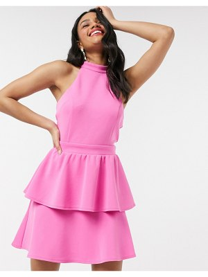 Laced In Love halter double skirt mini dress in pink