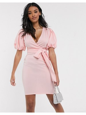 Laced In Love plunge pencil dress with balloon sleeve in blush-pink
